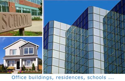 Images of a school, home and office building